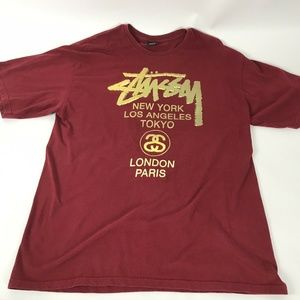Mens Stussy Red T-Shirt Short Sleeve Size XL
